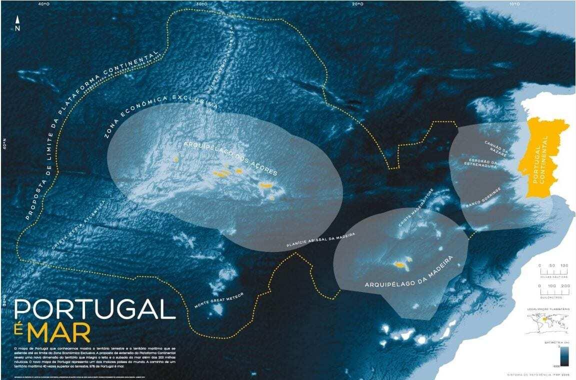 Mapa de Portugal com Extensão da Plataforma Oceânica