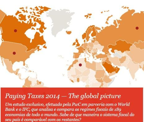 Taxas de impostos no mundo 2014 - PwC