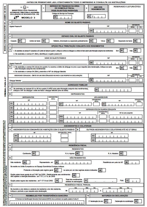 Novo Modelo 3 instruções de preenchimento - 2016