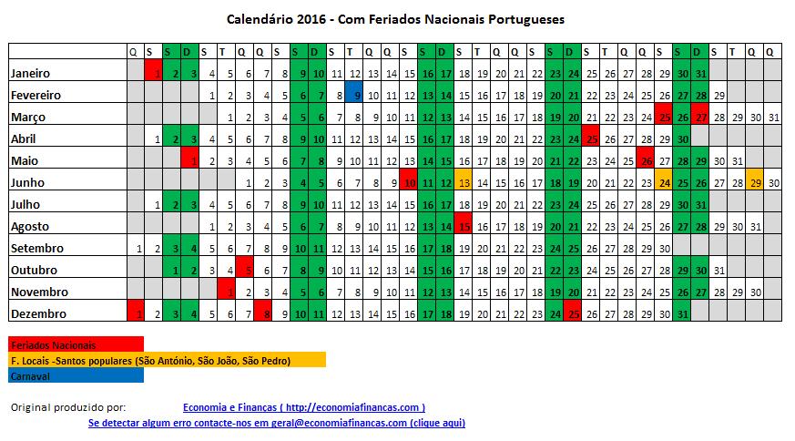 Calend rio 2016 para impress o em excel economia e finan as for Calendario ferias