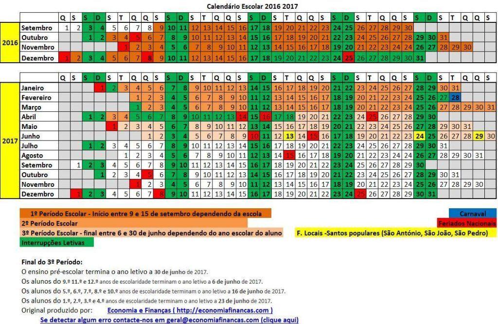 Calendário Escolar 2016 2017 para impressão em Excel