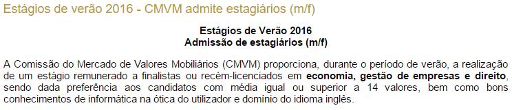 Estágios de Verão 2016 na CMVM