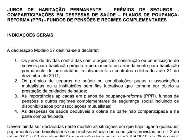 Novas Instruções para o Modelo 37 do IRS 2017