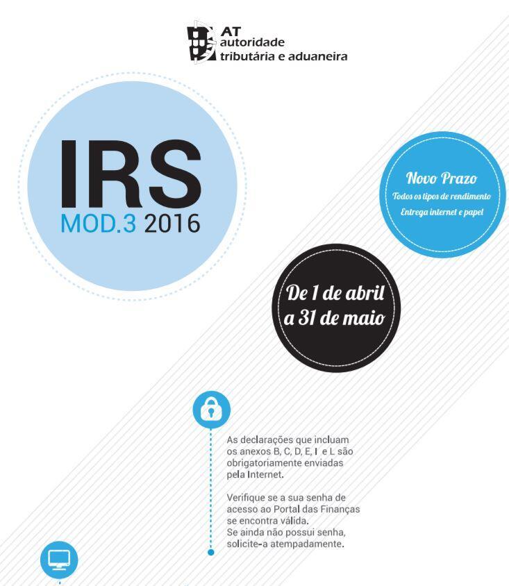 Guia das Finanças para Entrega do IRS 2016