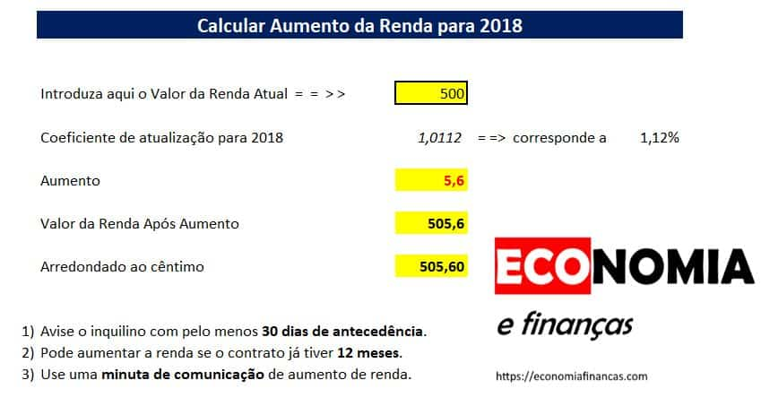 Como calcular o aumento das rendas para 2018