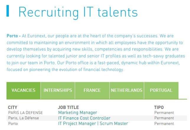Euronext está a recrutar para IT no Porto