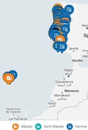 Mapa Postos Carregamento Elétrico Portugal