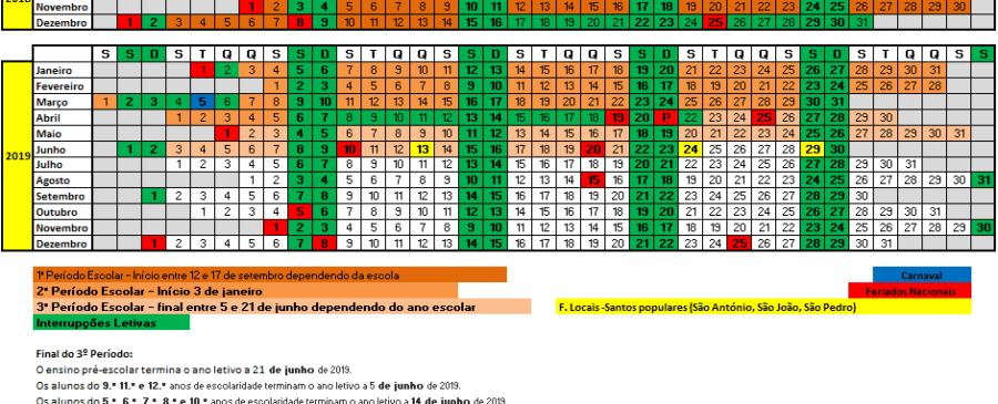 Calendário Ano Letivo 2018 2019