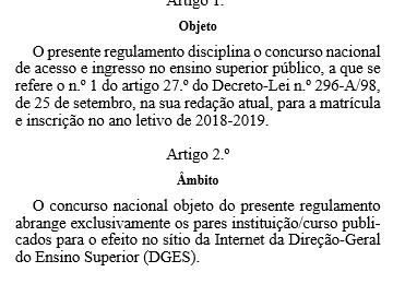 Regras de Acesso e Ingresso no Ensino Superior Público para Matrícula e Inscrição no Ano Letivo de 2018-2019