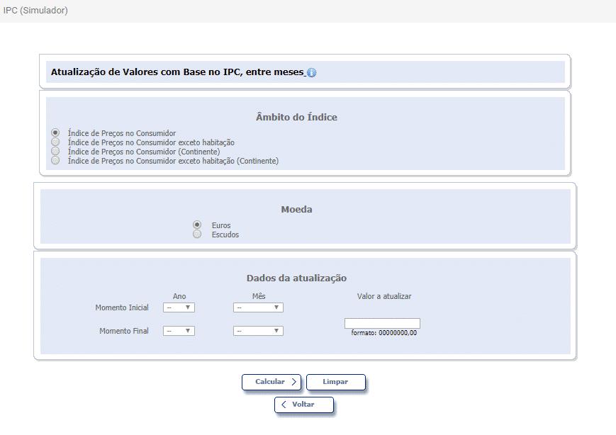 Simulador Inflação IPC INE