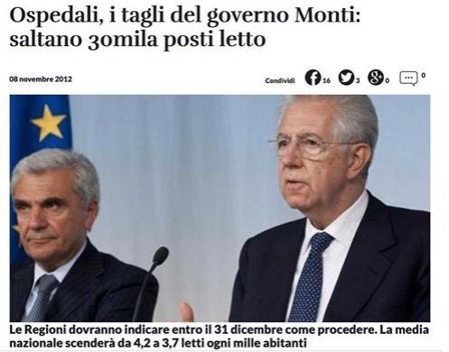 Mario Monti e la sua austerity: i tagli alla sanità pubblica