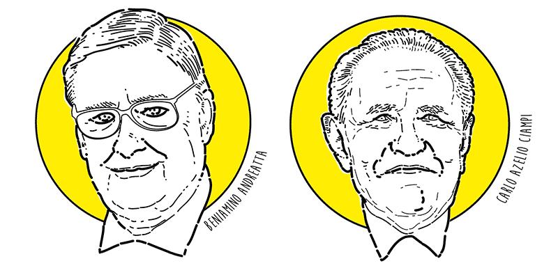 I ritratti di Andreatta e Ciampi tratti dal libro di economia spiegata facile