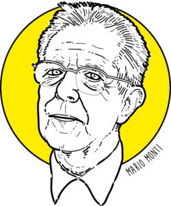 Mario Monti, ritratto di Costantino Rover - © economia spiegata facile