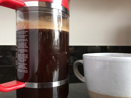 Irish Coffee with Coconut Whipped Cream in French Press