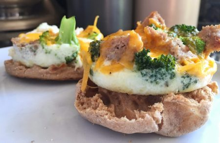 Ramekin Eggs on English Muffin