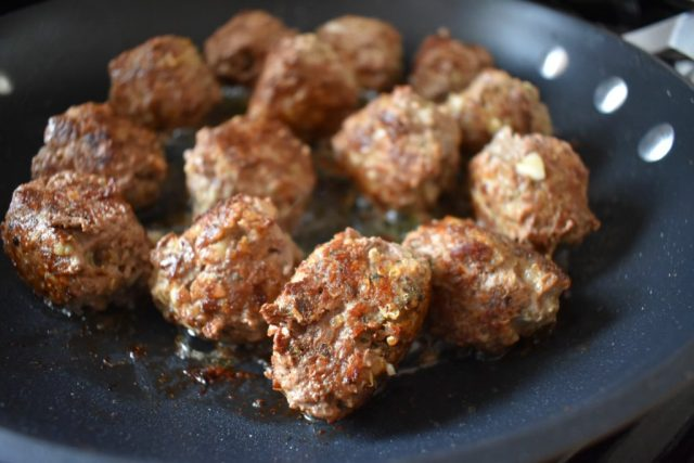 Grass Fed Beef and Quinoa Meatballs cooking