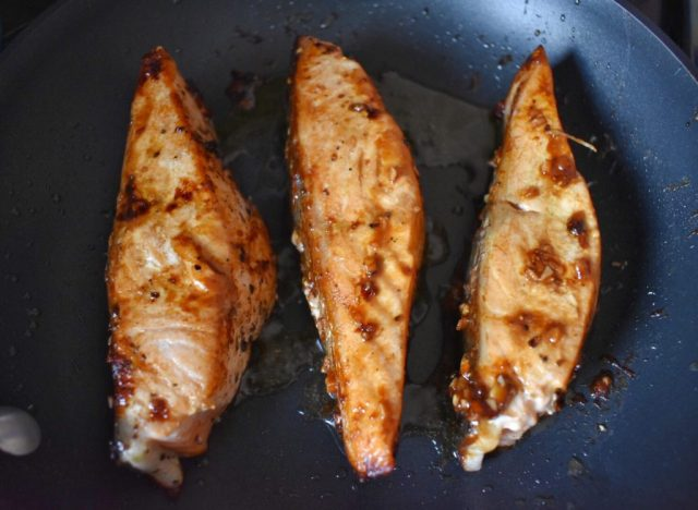 Pan Seared Salmon with Soy Ginger Glaze Close