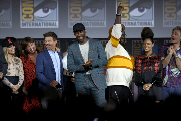 (L-R) Florence Pugh, Jeremy Renner, Brian Tyree Henry, Mahershala Ali, Tessa Thompson and Taika Waititi from the Marvel Studios panel during the Comic-Con International at the San Diego Convention Center.