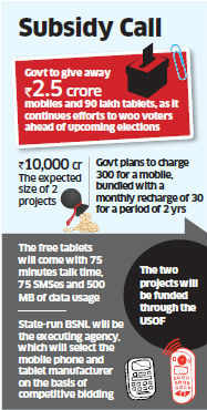 Government lines up Rs 10,000 crore subsidy for mobiles, tablets in rural areas