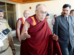 Dalai Lama arrives at Dharamsala Airport in Dharamsala on October 3.