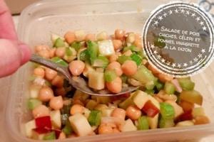 Salade de pois chiches, céleri et pommes, vinaigrette à la dijon