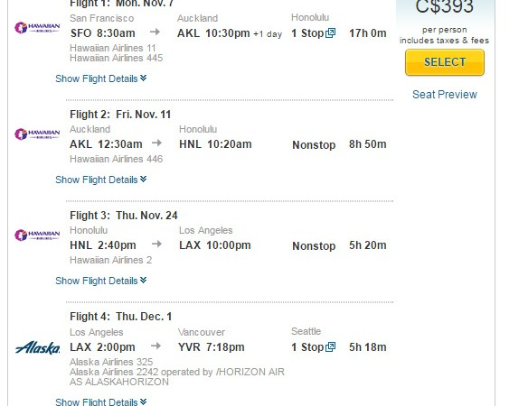 San Francisco to New Zealand, Hawaii, Los Angeles and Vancouver all-in for $307 USD / $393 CAD!