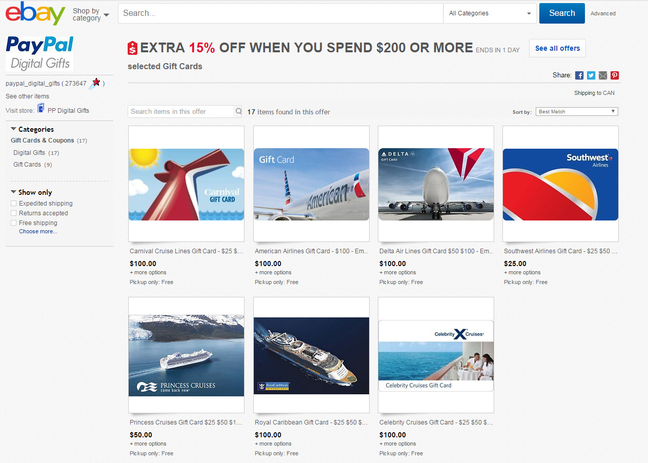 Quick 15 Off American Delta And Southwest Gift Cards When You Spend 200 On Ebay Economiles