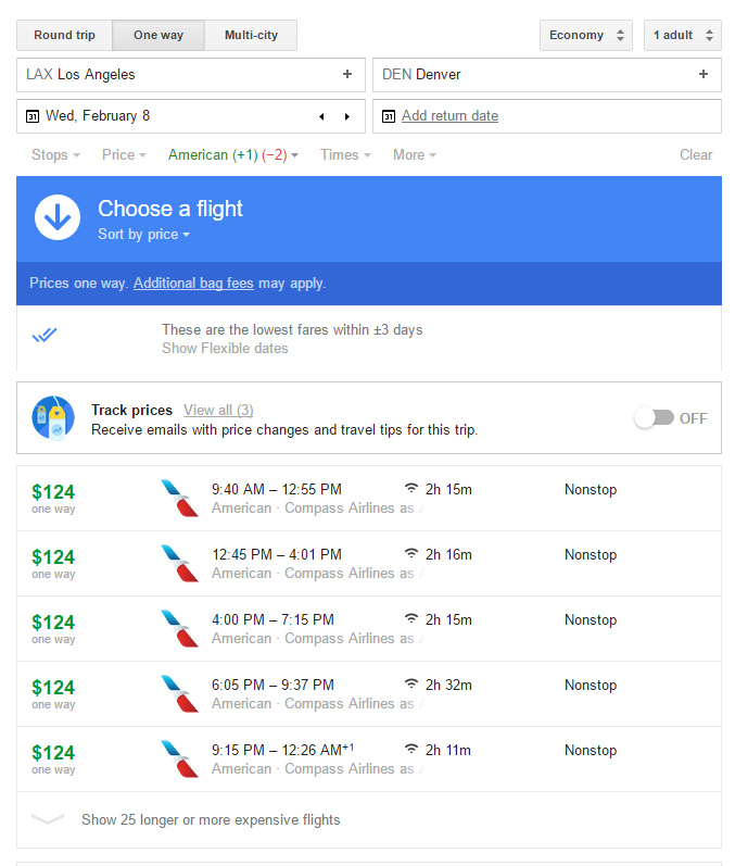 Google Flight Screenshot