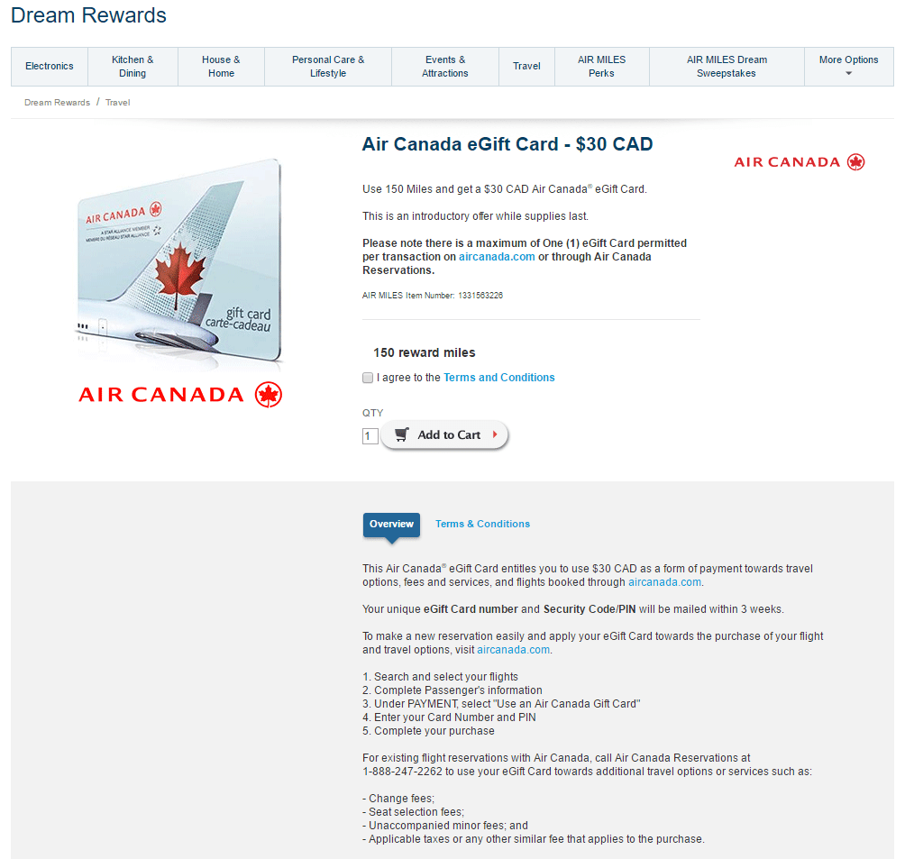 Another Great Air Miles Redemption with Air Canada