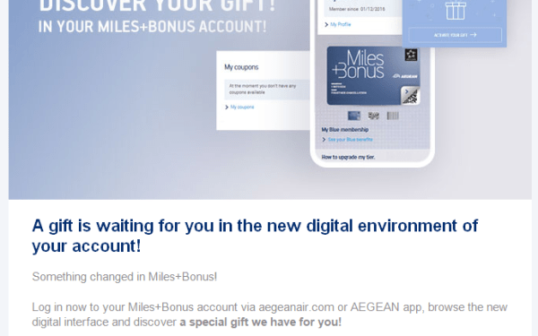 [Targeted?] Get 1,000 Aegean Miles For Free