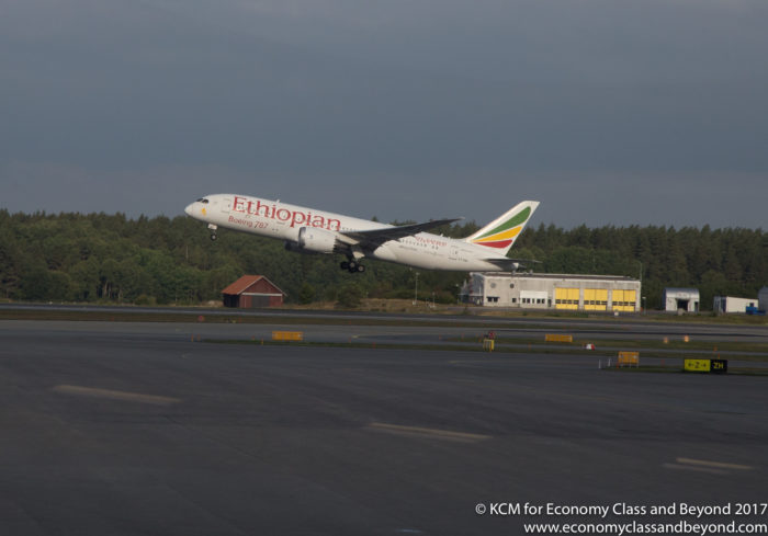 Ethiopian Airlines Boeing 787-8 Dreamliner departing Stockholm Arlanda - Image, Economy Class and Beyond