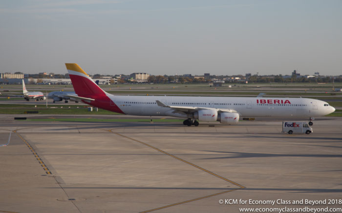 Iberia Airbus A340-600 taxing at Chicago O'Hare - Image, Economy Class and Beyond