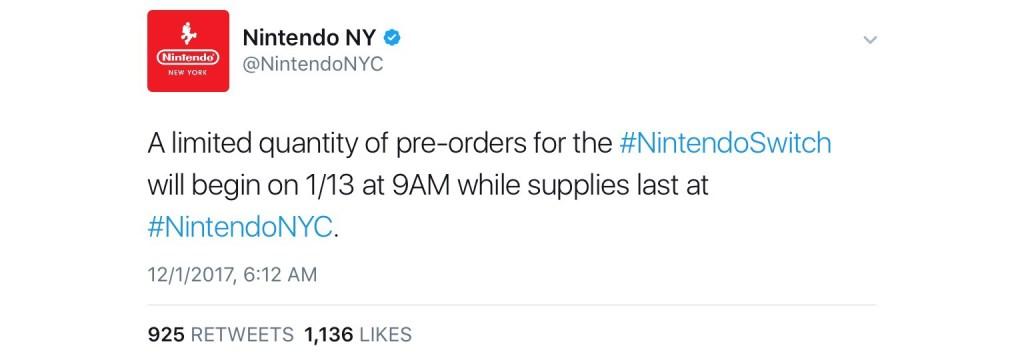 任天堂:今日可在紐約預購Switch