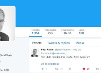 Paul Romer Twitter Profile