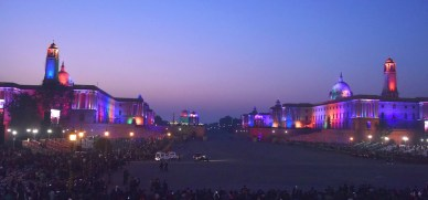 A view of the illuminated Rashtrapati Bhavan, South and North Block, during the 'Beating Retreat' ceremony, at Vijay Chowk, in New Delhi on January 29, 2018.