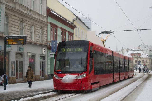 Le centre de ville de Bratislava sous la neige