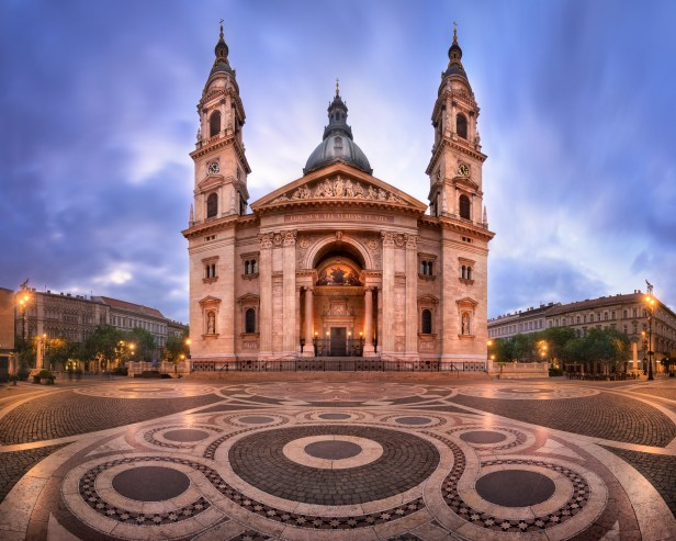 Panorama of Saint Stephen Basilica in the Morning, Budapest, Hun