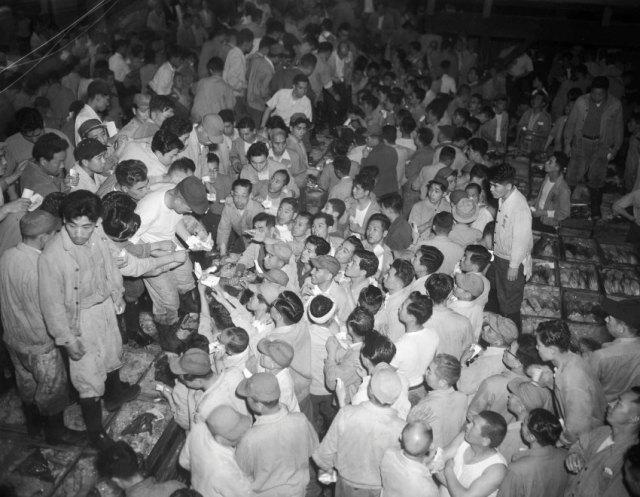 Tsukiji Enchères de thon 1953 Les offres équivalentes à 1 000 eur par poisson sont normales aujourd'hui