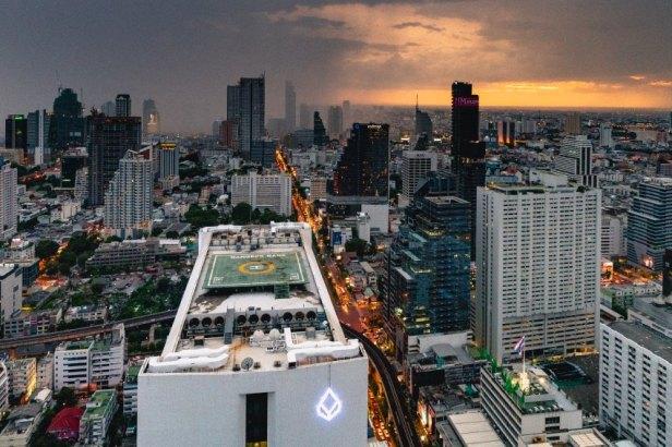 Bangkok skyline at sunset with storm clouds