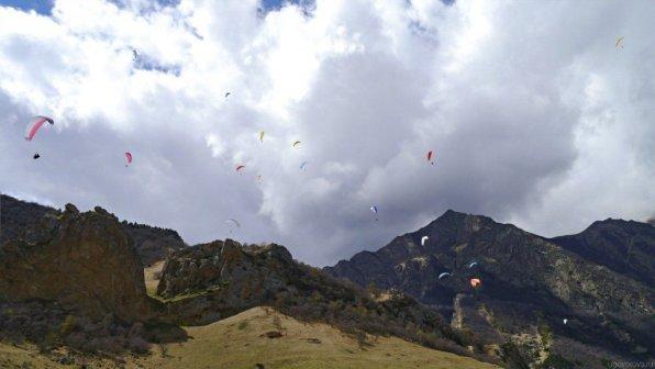 Paragliding over North Caucasus