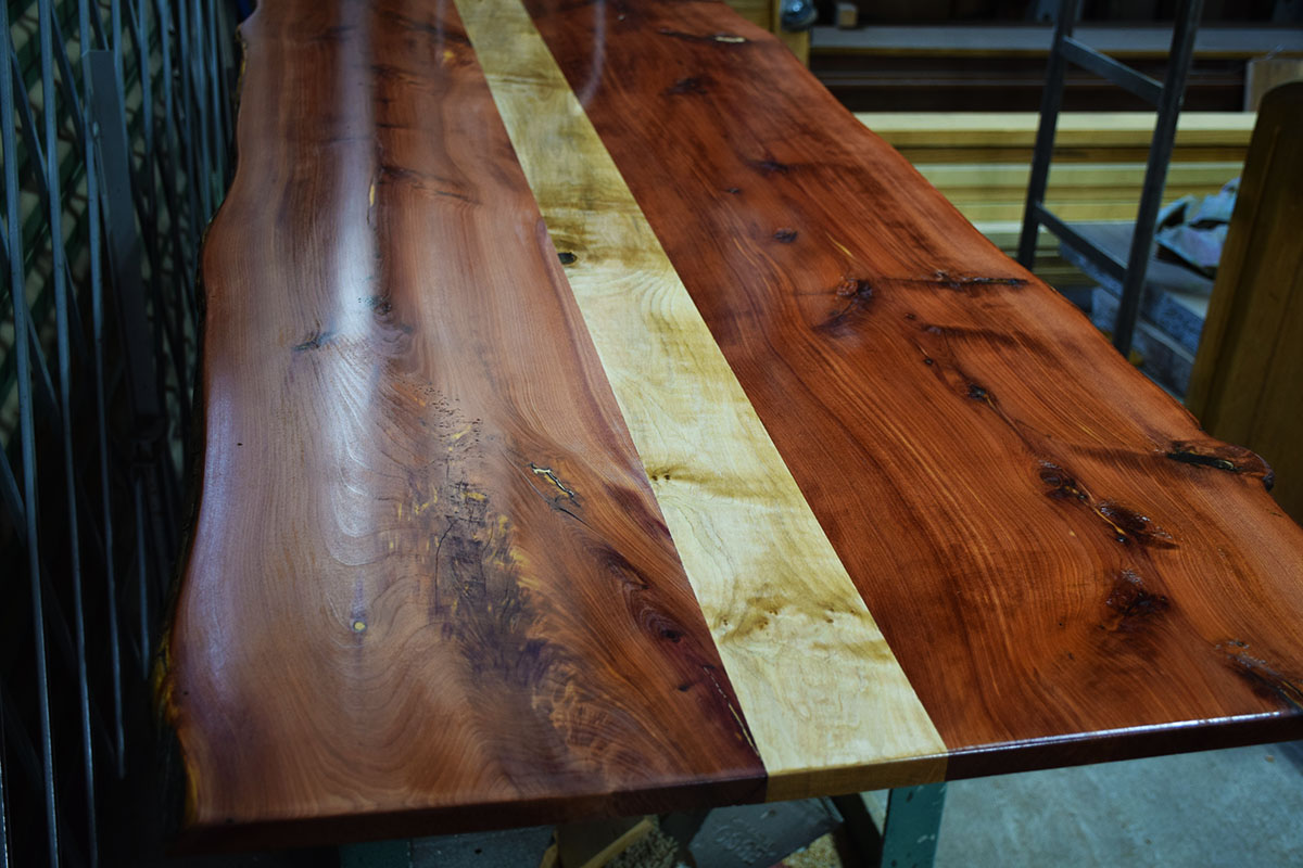 Custom Table Top Has Now Received The Top Coat, Beautiful.