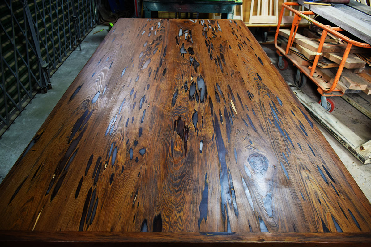 This is what the Custom Table Top by Billy Leeka looks like finished. Eco Relics Wood Shop Creates Another Stunning Table