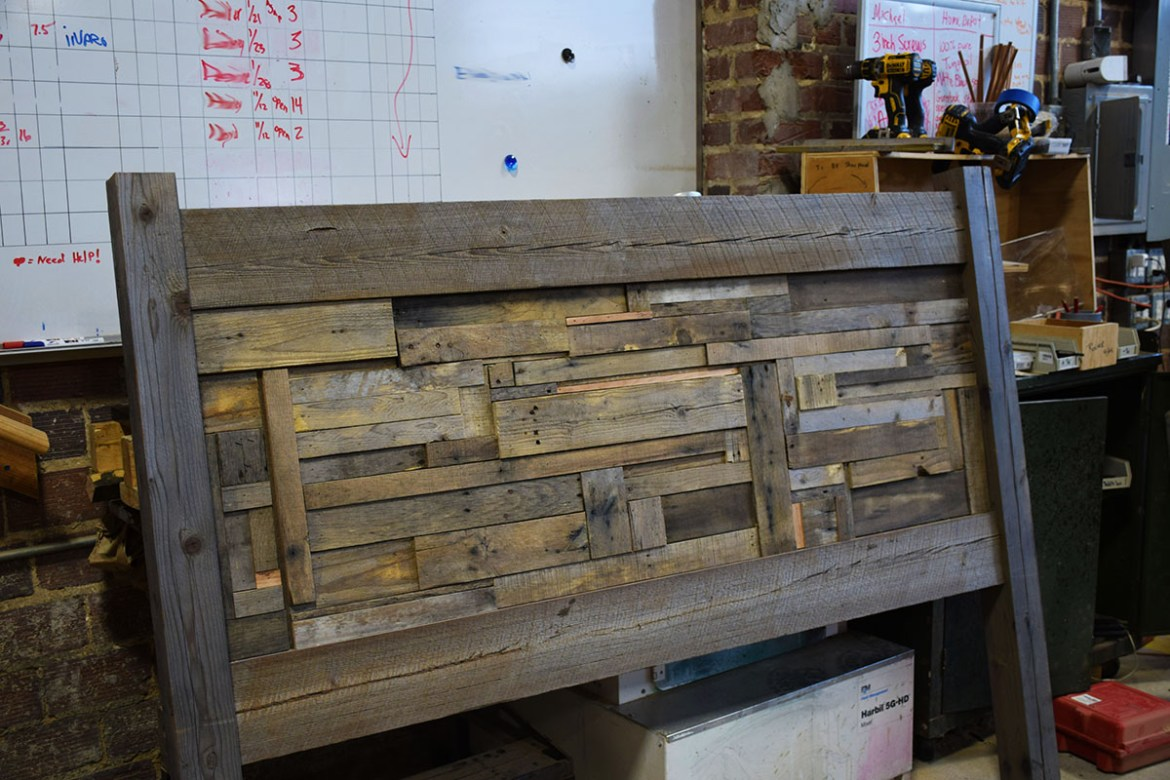 Salvaged lumber and pallet wood headboard completed.
