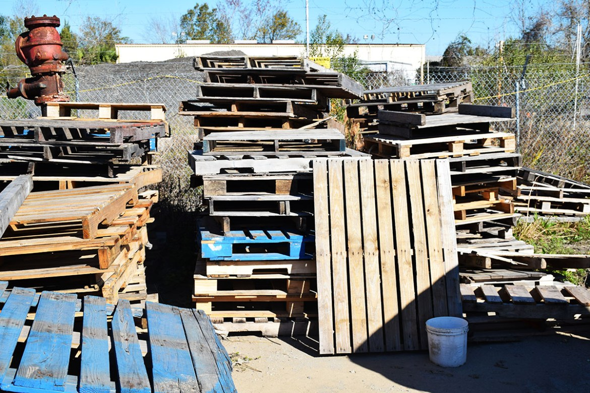 Old pallets stacked up in our salvage yard.