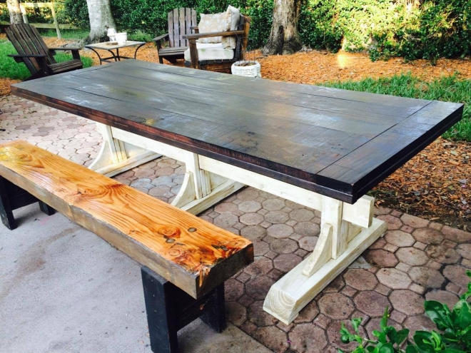 Customer Creation - Table using salvaged mahogany slabs_Yvonne Coleman