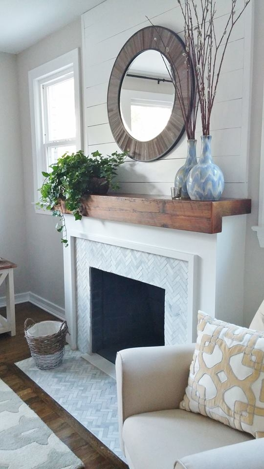 Salvaged Pine Beam Mantel
