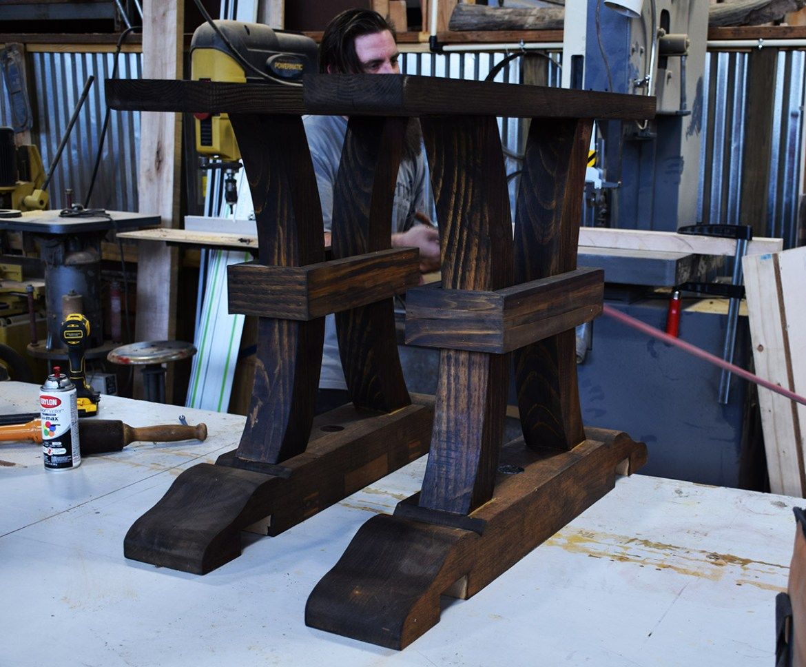Salvaged pine made up these rugged legs for the base.