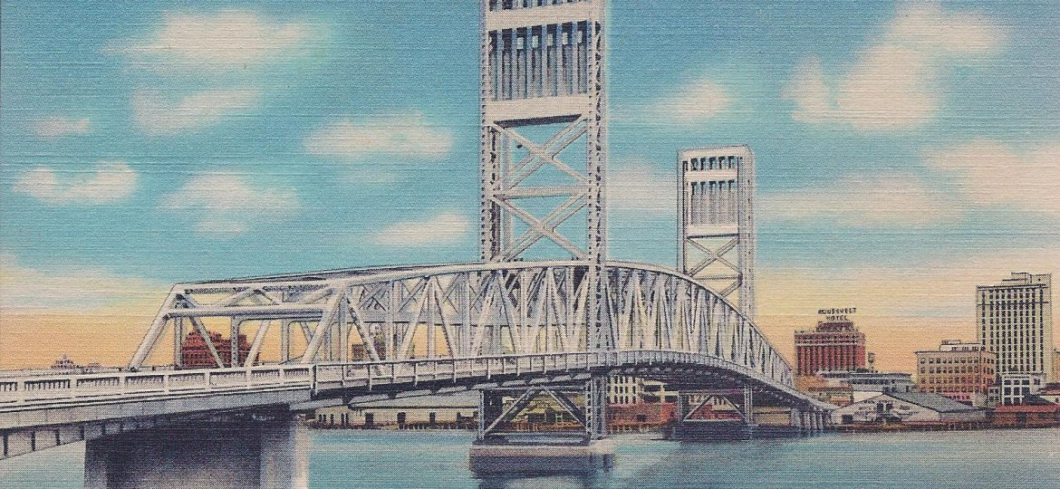 Postcard Main St Bridge Postdated 1945