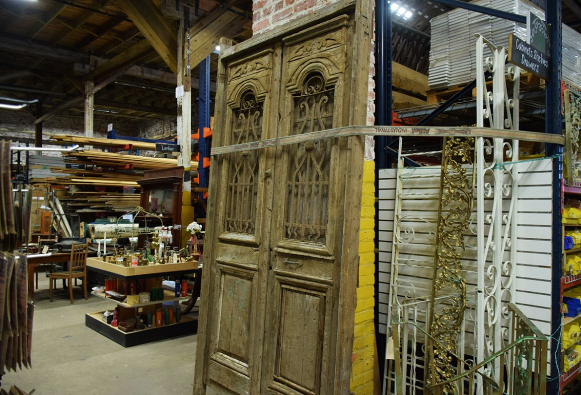 This set of Egyptian doors also includes some beautiful iron work inserts.