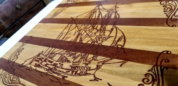 Sailing ship cutting board